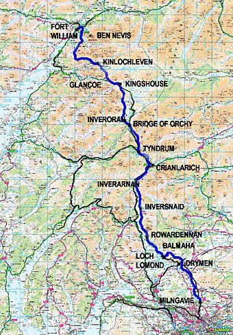 West Highland Way Map A map of the West Highland Way or The Road to the Isles. It starts  West Highland Way Map