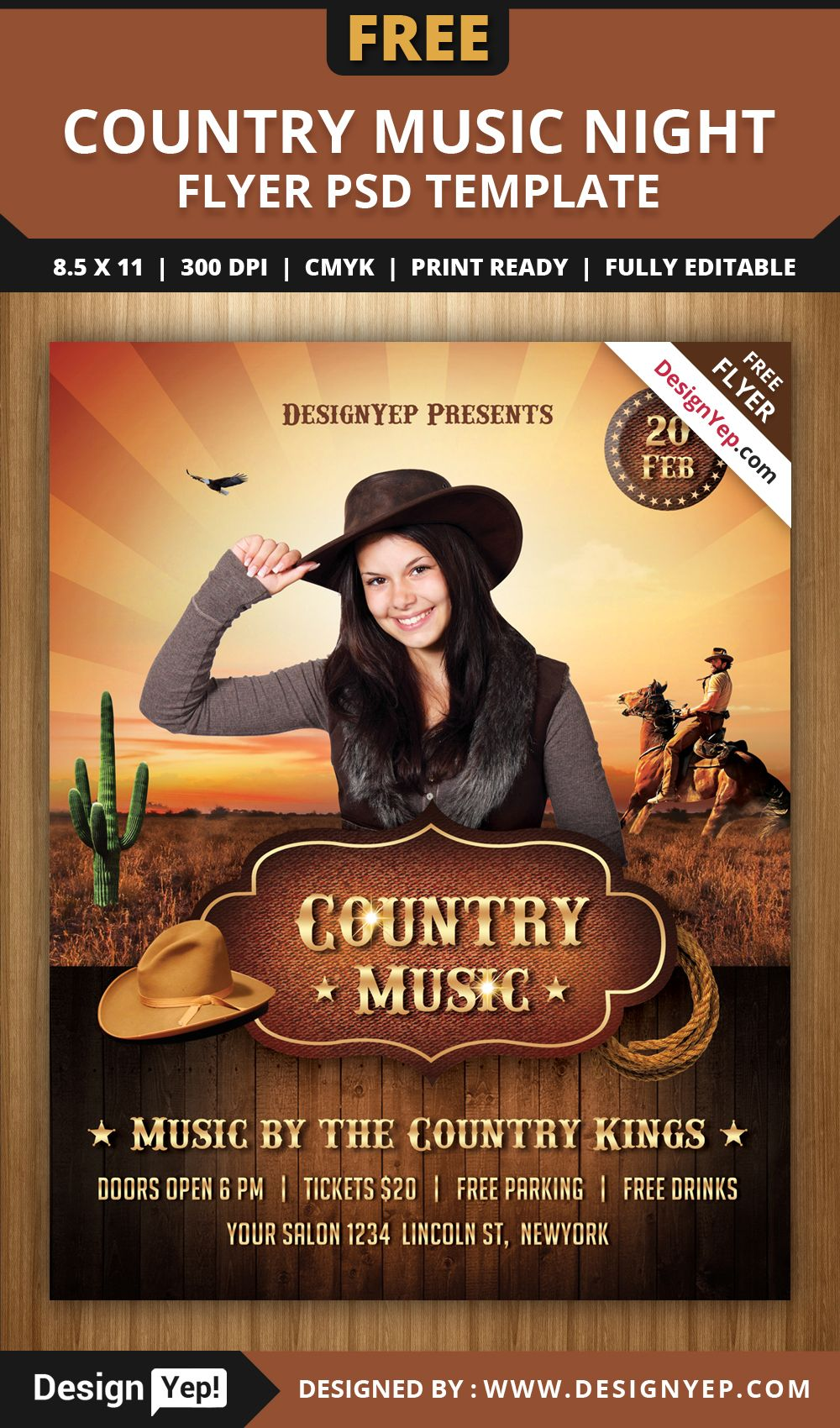 Free-Country-Music-Night-Flyer-PSD-Template-1515-Designyep | Free ...