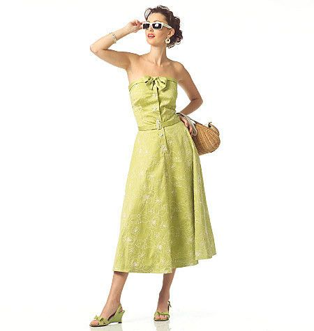 Out of print sewing pattern to make a close-fitting dress with lined bodice and flared skirt. Condition This is a contemporary reproduction of an original Vogue