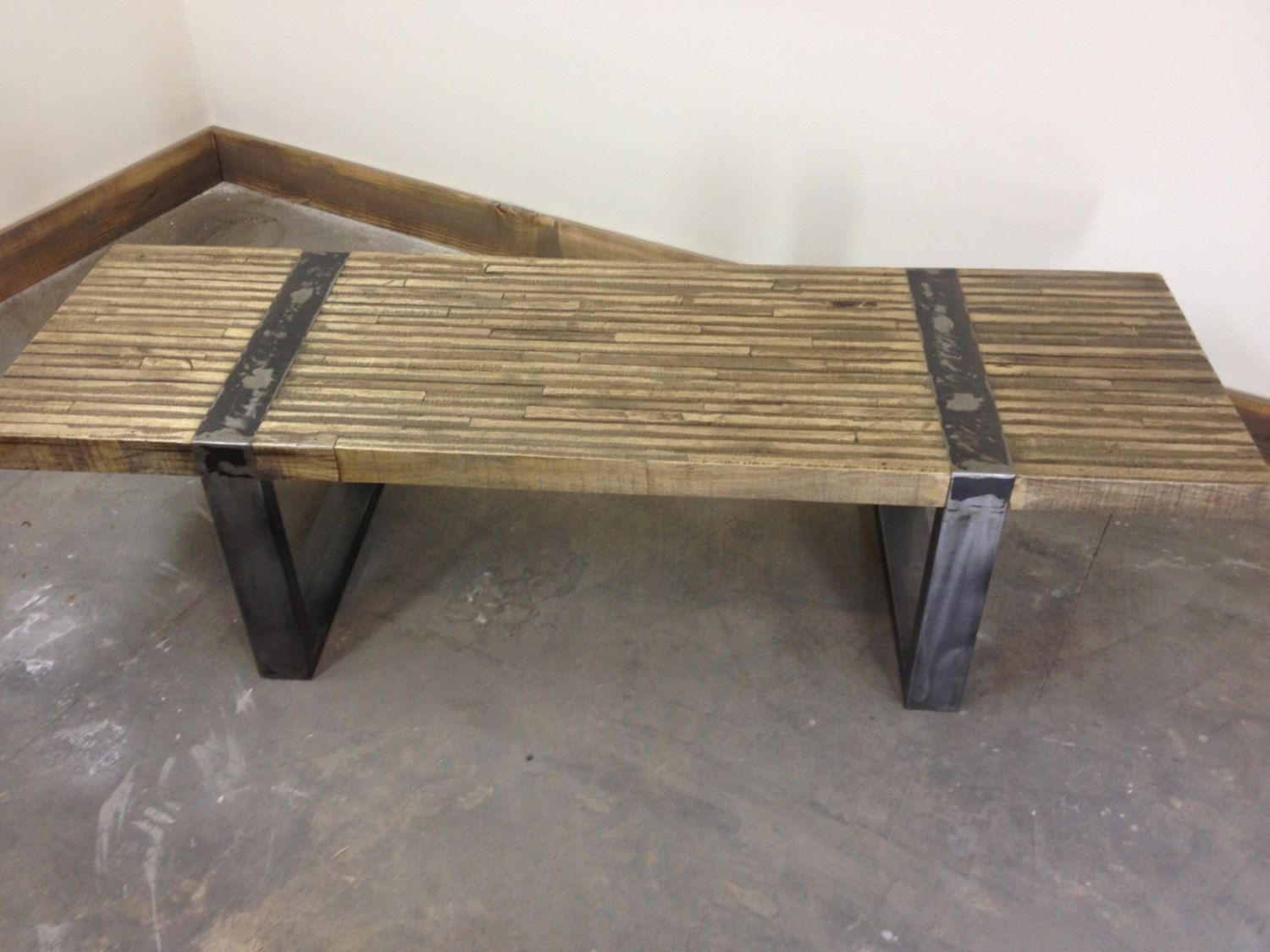Rustic Industrial Coffee Table or Bench with Metal Bands by