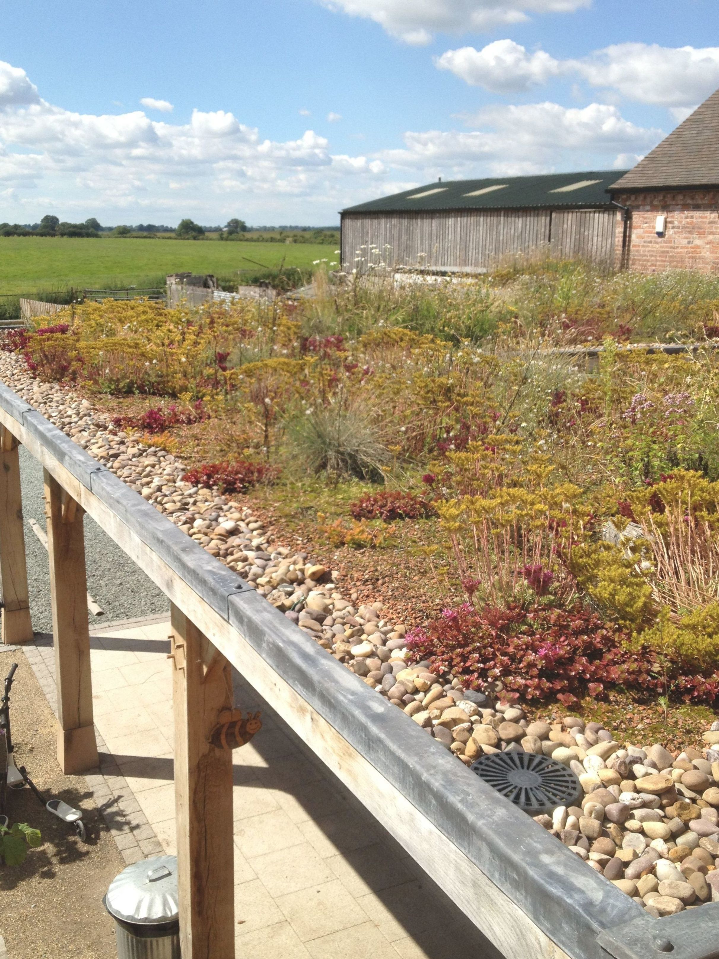 Wildflower Green Roof System Installed By Sedum Supply At Fordhall Organic Farm In Market Drayton Shropshire Greenr In 2020 Green Roof Garden Green Roof Roof Garden