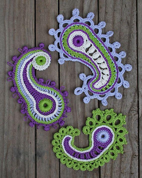 Paisley loop- crochet pattern, PDF in English   Apliques, Crochet ...