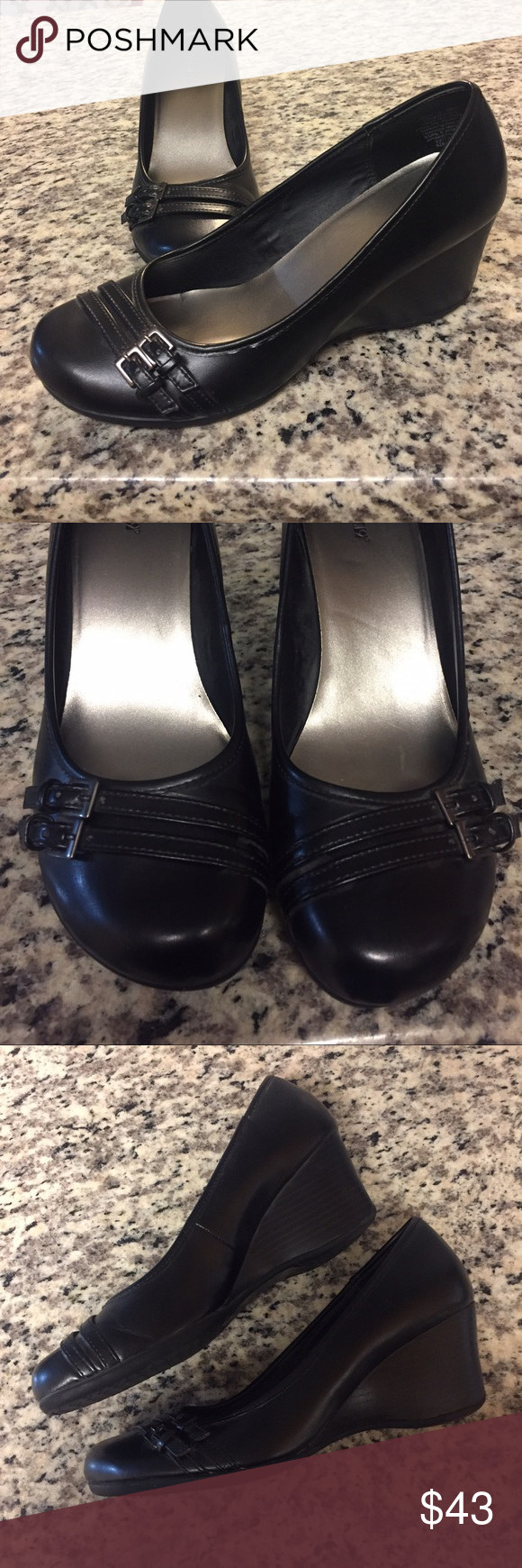 apt 9 comfort wedge heels The buckle details across the toe of these Apt. 9 Wedges ensure a polished appearance. In black. Wedge heel offers stability and comfort. Round toe, padded footbed   2 1/2-in. heel. Great condition worn only a few times Apt. 9 Shoes Wedges