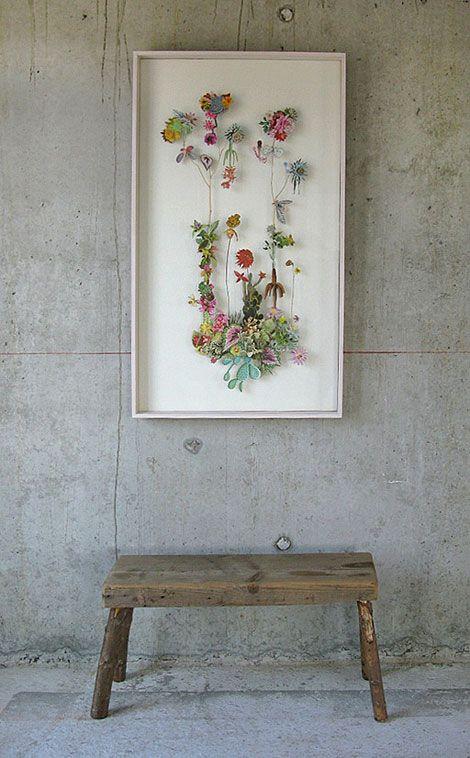 wood, concrete & colourful flowers