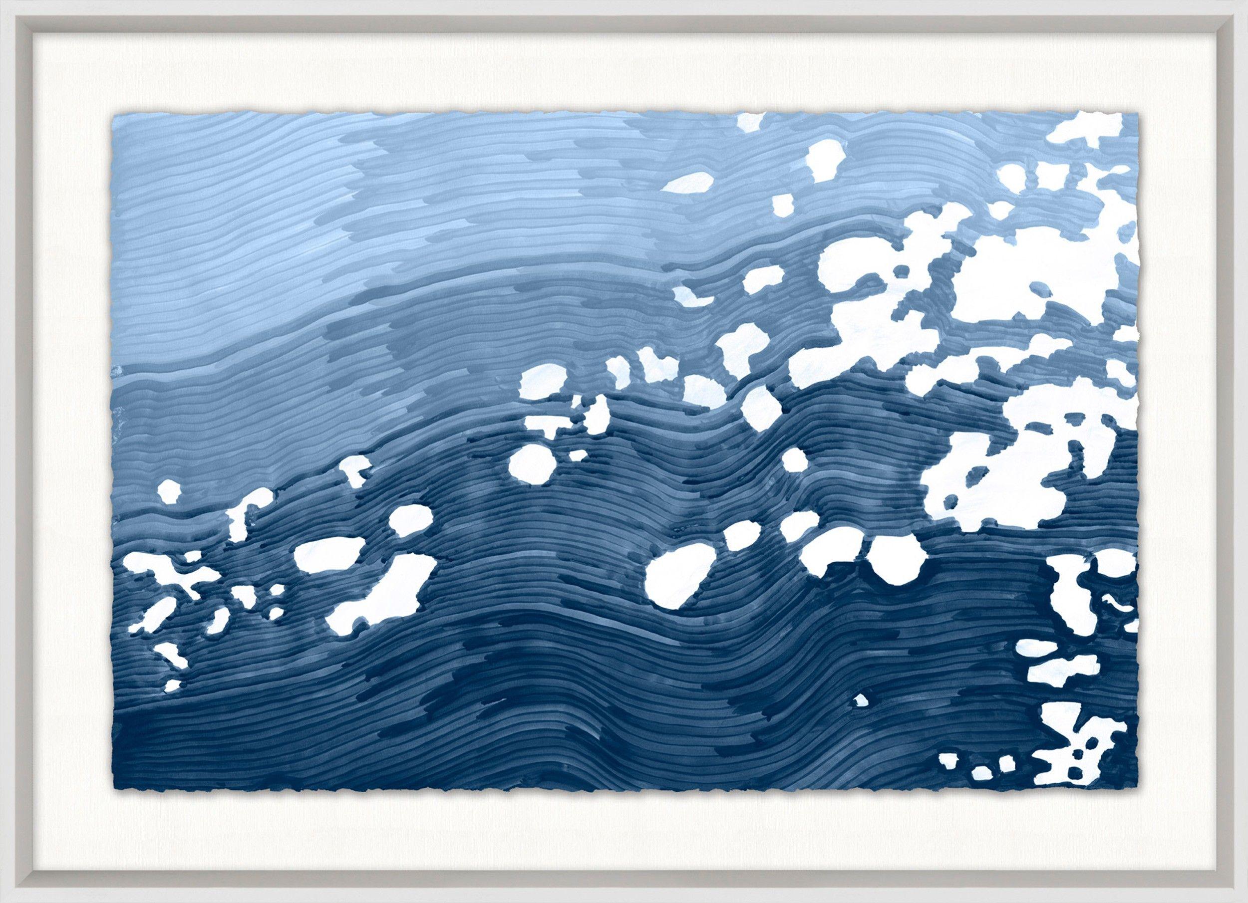 Dappled waves framed wall art in blue framed wall art and walls