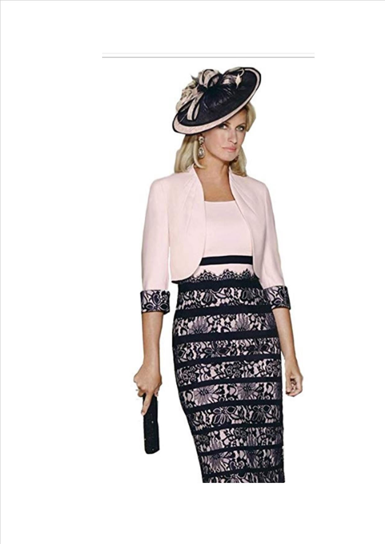 dressvip Round Neck Purple Lace 3//4 Sleeves Mother Of The Bride Suits For Women