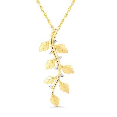 Diamond Falling Leaves Pendant in 10K Gold available at #HelzbergDiamonds