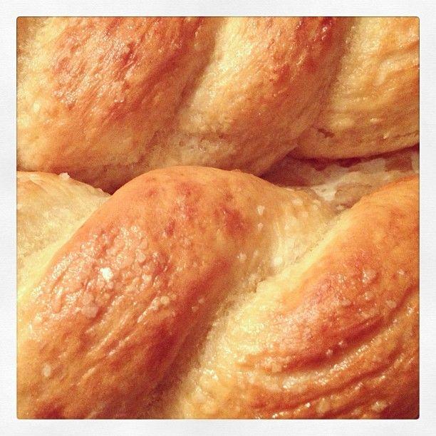 Close up of my soft pretzels with pink Himalayan salt. #pinksodium