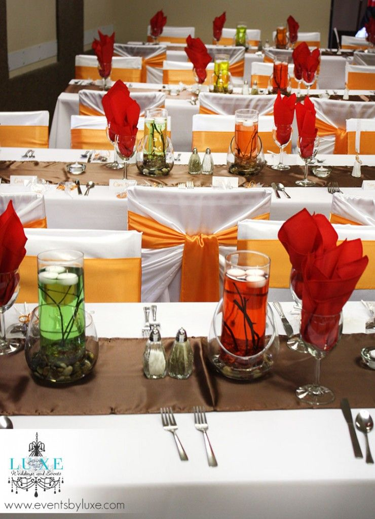 And Deniss Wedding Orange White Brown And Red Wedding Decor