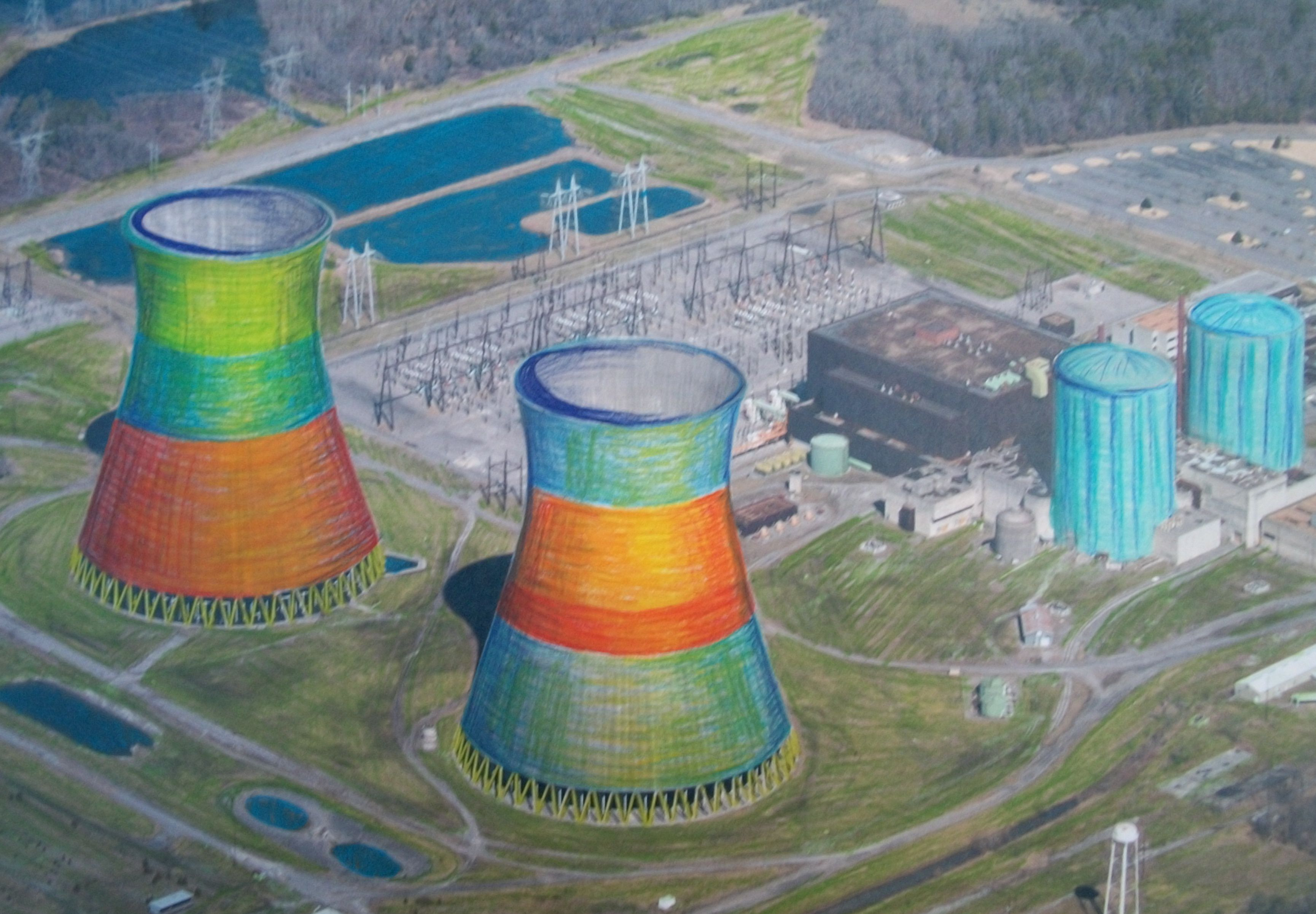 color field Nuclear cooling tower artwork by PopAtomic Studios