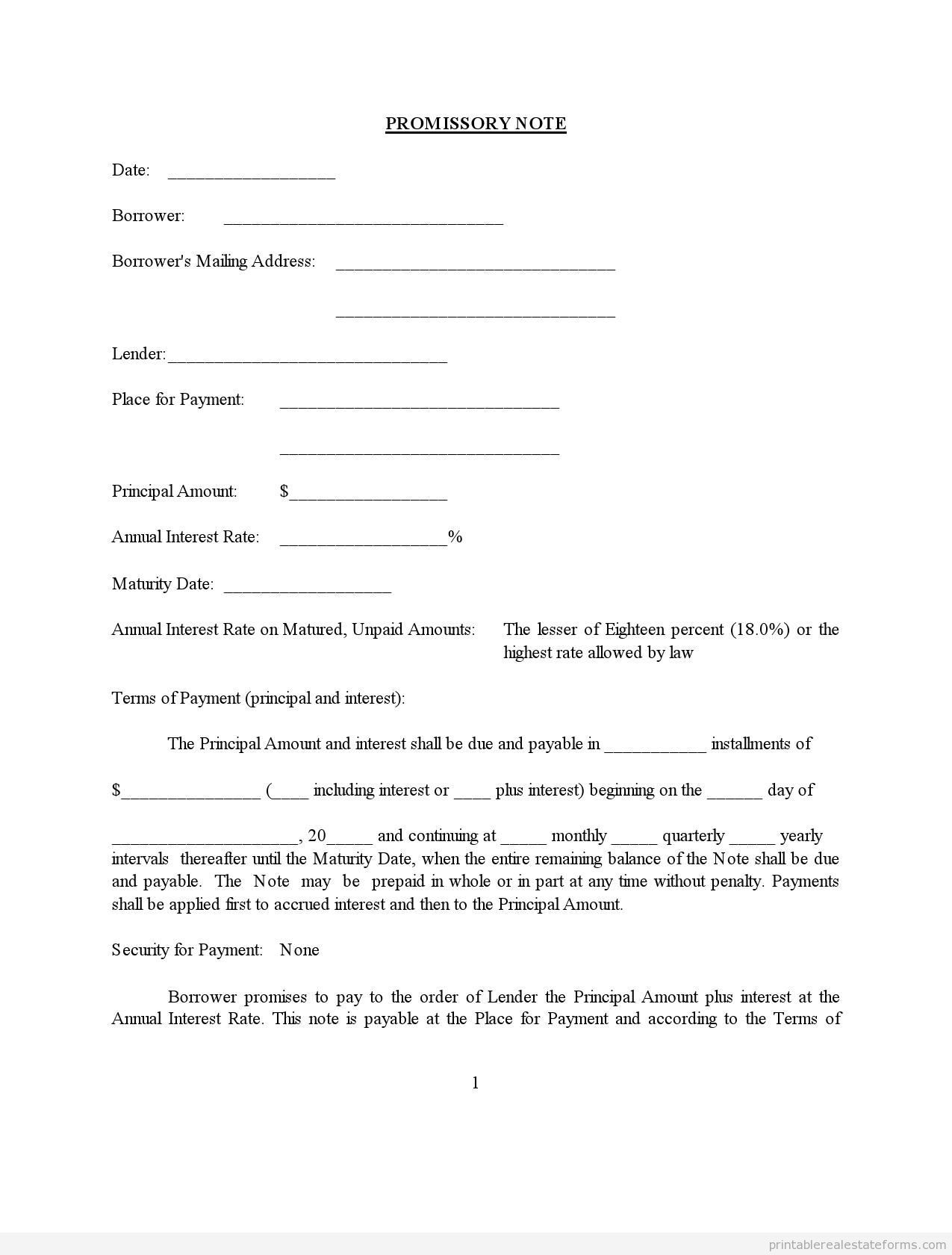 Promissory Note Assorted Legal Forms Legal Forms Real Estate