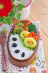 Potato dumpling bunny bento by luckysundae, via Flickr