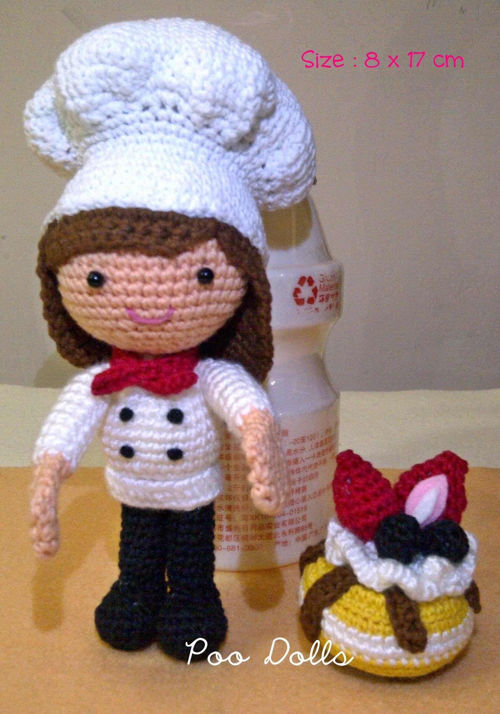 Amigurumi Strawberry Doll Pattern : Amigurumi Girl Chef with Strawberry Cheese Cake #PooDolls ...