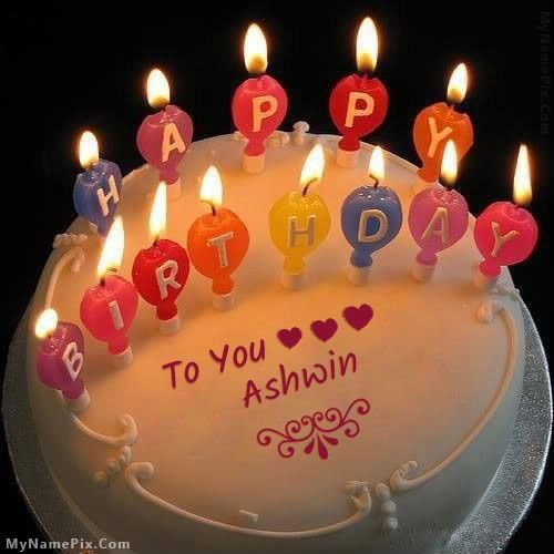 The Name Ashwin Is Generated On Candles Happy Birthday Cake With