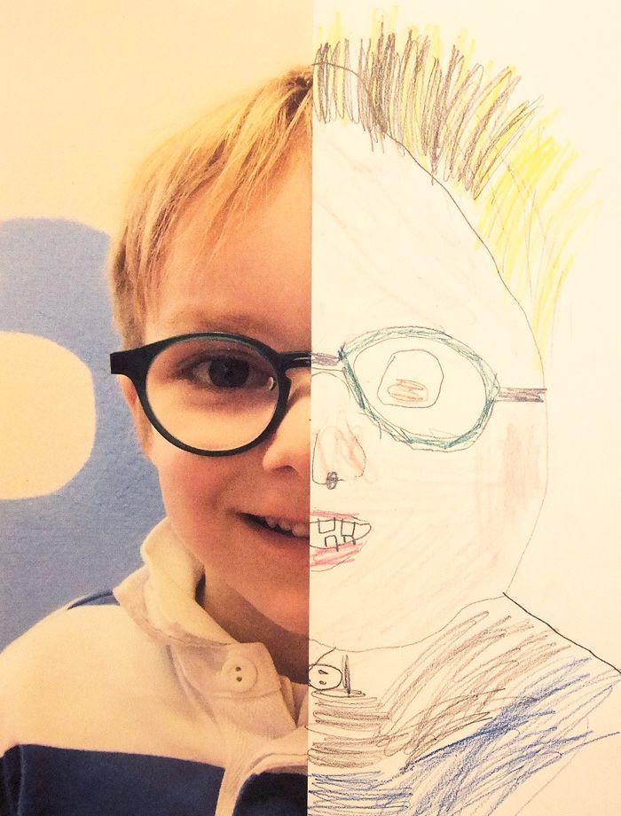 6 Half Self Portraits Projekt von Hannahs Art Club. #drawingprompts