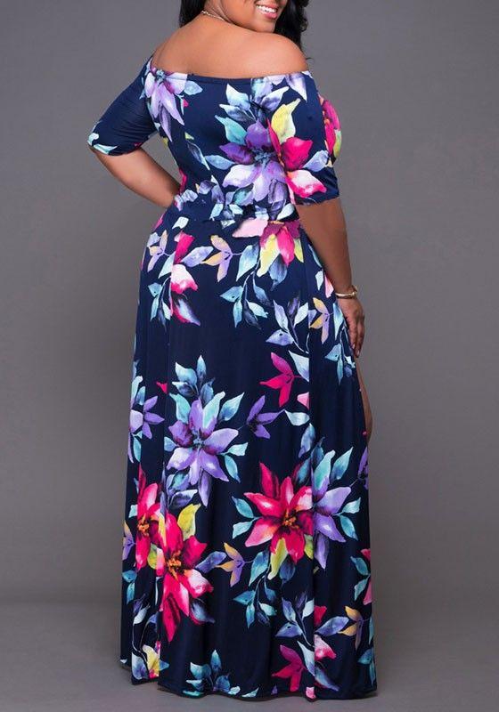 fcb970c8706 Multicolor Bohemian Floral Irregular Slits Off-shoulder Plus Size Boho  Romper With Maxi Overlay