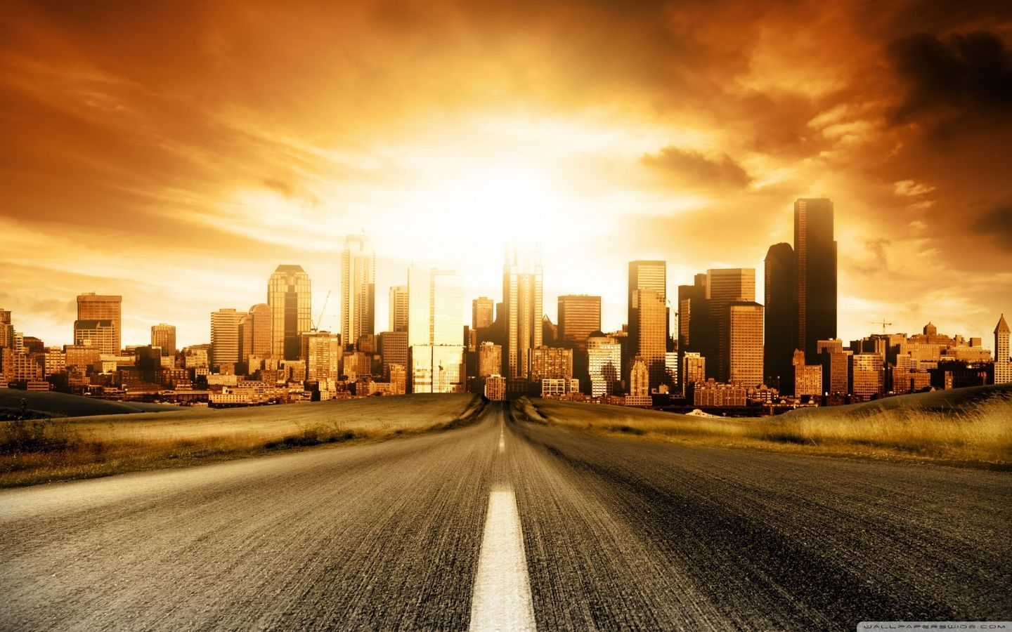 City Road Wallpaper Wide Sunset City Background For Photography City Backdrop
