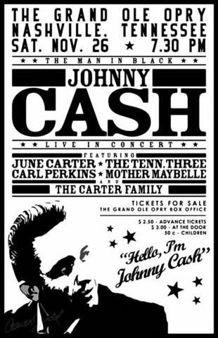 Johnny Cash Grand Ole Opry Mini Print Music Concert Posters