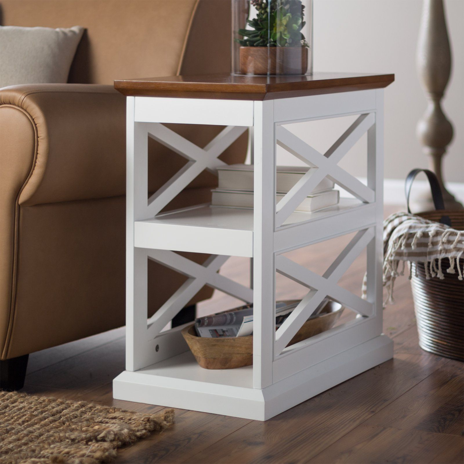 Have to have it. Belham Living Hampton Chair Side Table - White/Oak - $99.98 @hayneedle