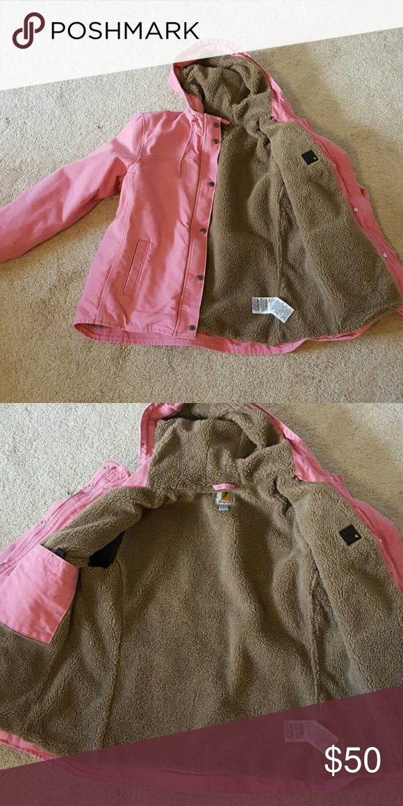bcf6881e4e86 Pink carhartt Pink carhartt jacket cozy and warm size med no flaws just too  big for me :( ******will trade for small or XS Carhartt Jackets & Coats