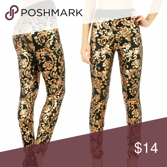 Metallic Floral Leggings These are beautiful black leggings with Gold Metallic Floral print.  They are super stretchy and really comfortable! Pants Leggings