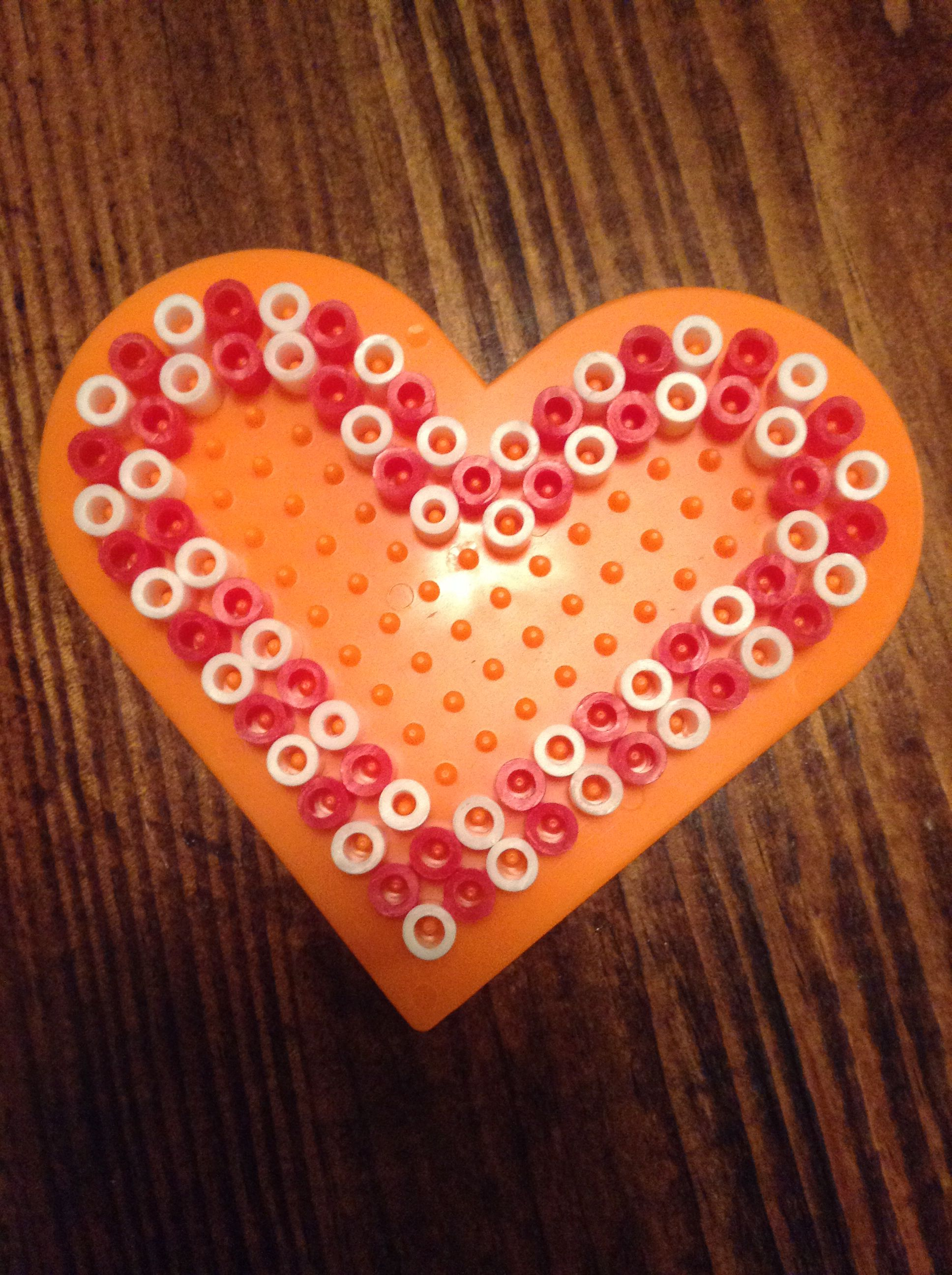 Candy Cane Heart Perler Beads