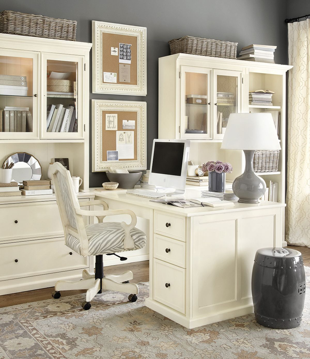 A home office layout like this would allow me to look out the window ...