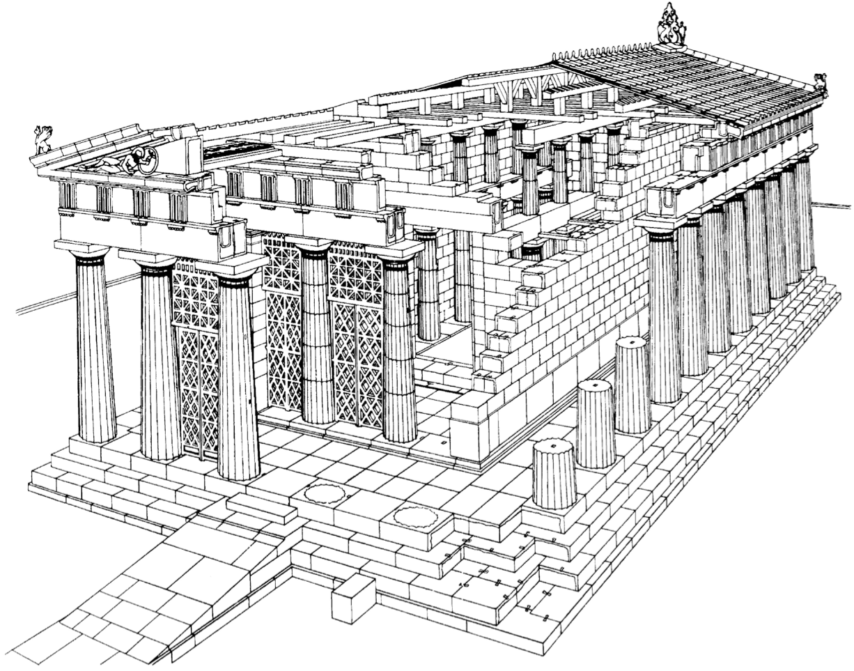 restored greek architecture drawings restored cutaway view