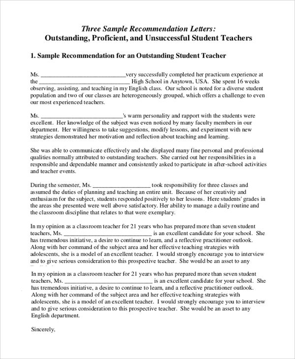 Sample Letter of Recommendation for Teacher - 18+ Documents in - school recommendation letter