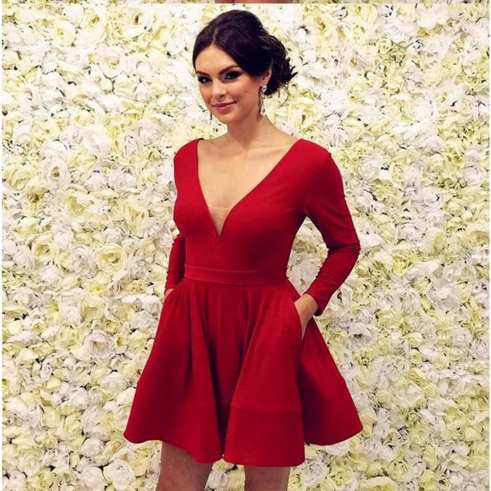 Cute a line red long sleeves knee length v neck satin