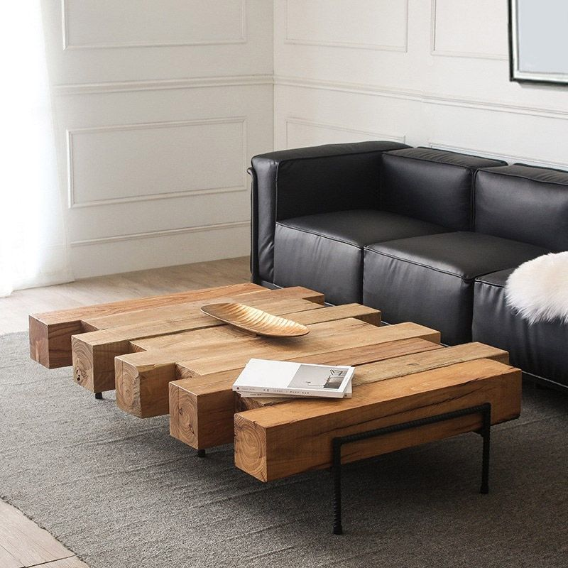 Industrial Rustic 42 52 Solid Wood Coffee Table Geometric Metal