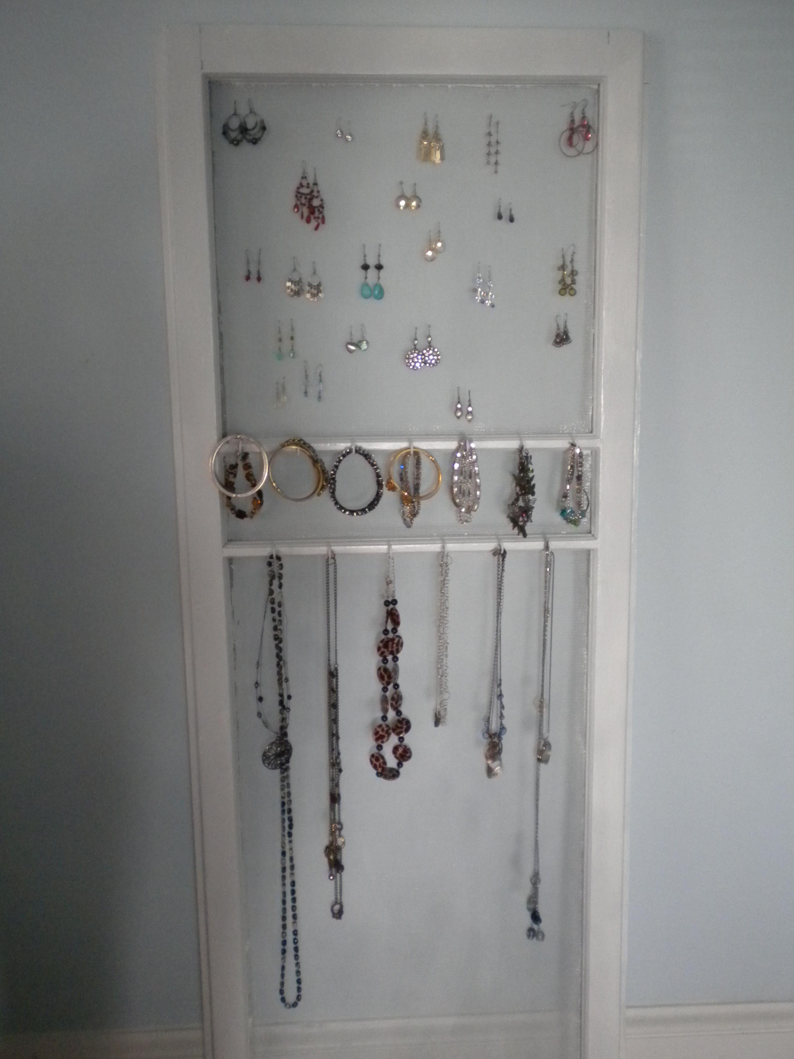Window display ideas for jewelry  old screen door repurposed  repurposing screen doors  pinterest