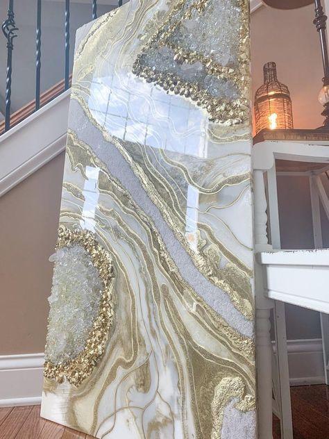 "Original 24x48 Geode Resin Artwork- ""Gilded Glow"""