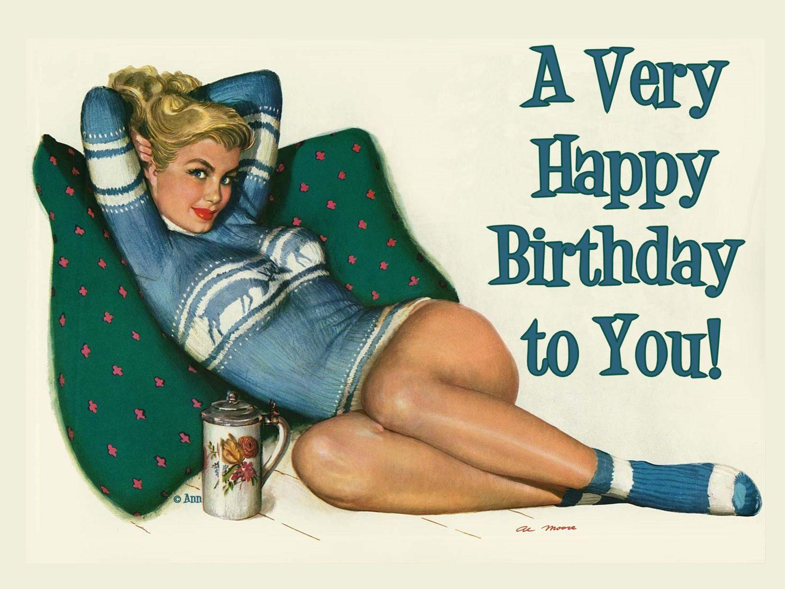 С днем рождения открытки с девушками в стиле пин ап