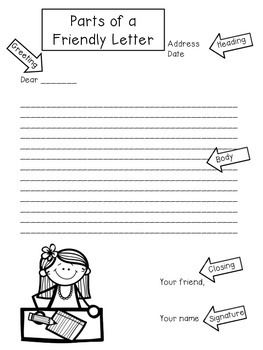 Freebie Parts Of A Friendly Letter Letter Writing Pinterest
