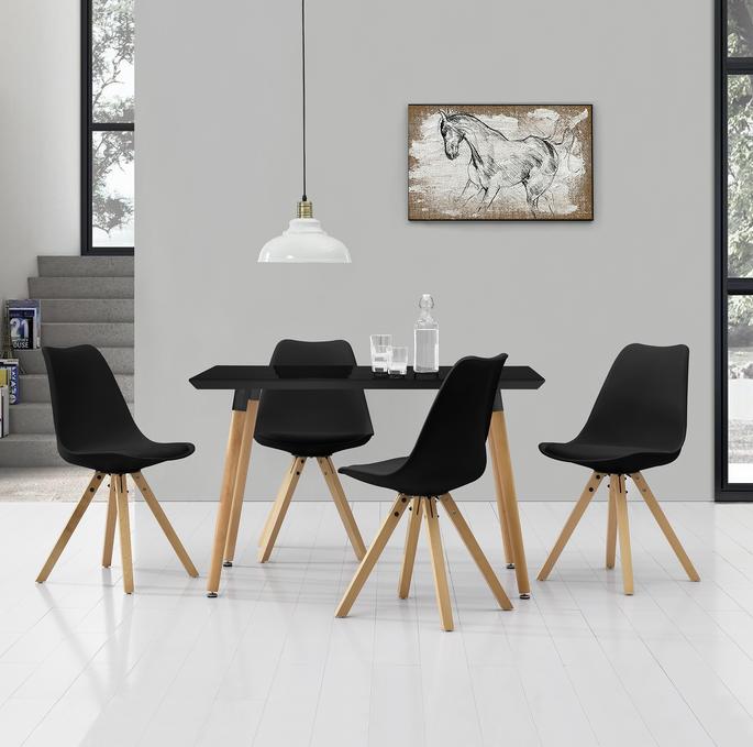 Stylischer Tisch Im Trendigen Retro Design Designstuhl Im 4er Set 85 X 48 5cm Schwarz Esstisch Stuhle Esstisch Stuhle Gunstig