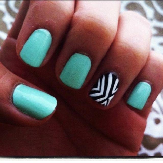 Cute mint nails!   nailed   Pinterest   Mint nails, Nail nail and Makeup