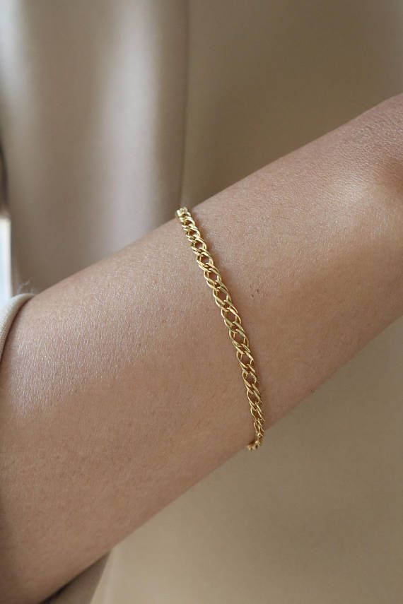 f12672dee52 21k Yellow Gold Chain - Solid Gold Chain bracelet - Thin Gold Bracelet