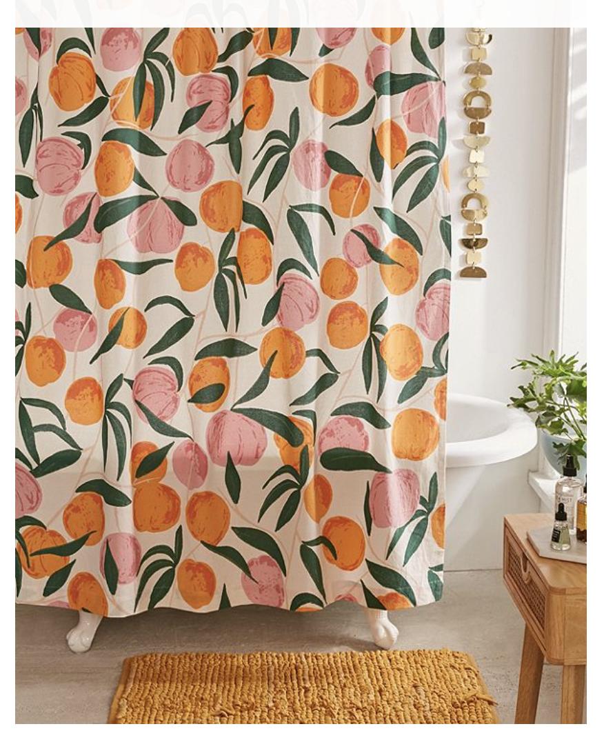 Allover Fruits Shower Curtain Guest Bathroom Decor Peach