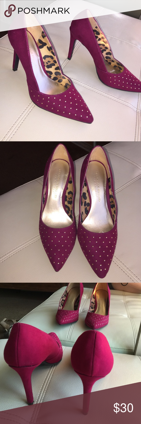 Burgundy pumps Wore them once Christian Siriano Shoes Heels