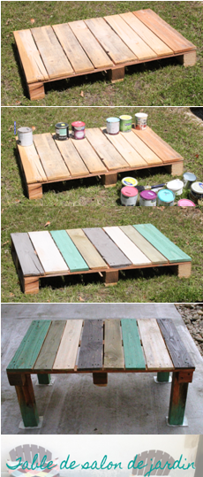 table en palette salon de jardin, recyclage, récup | Palettes ...