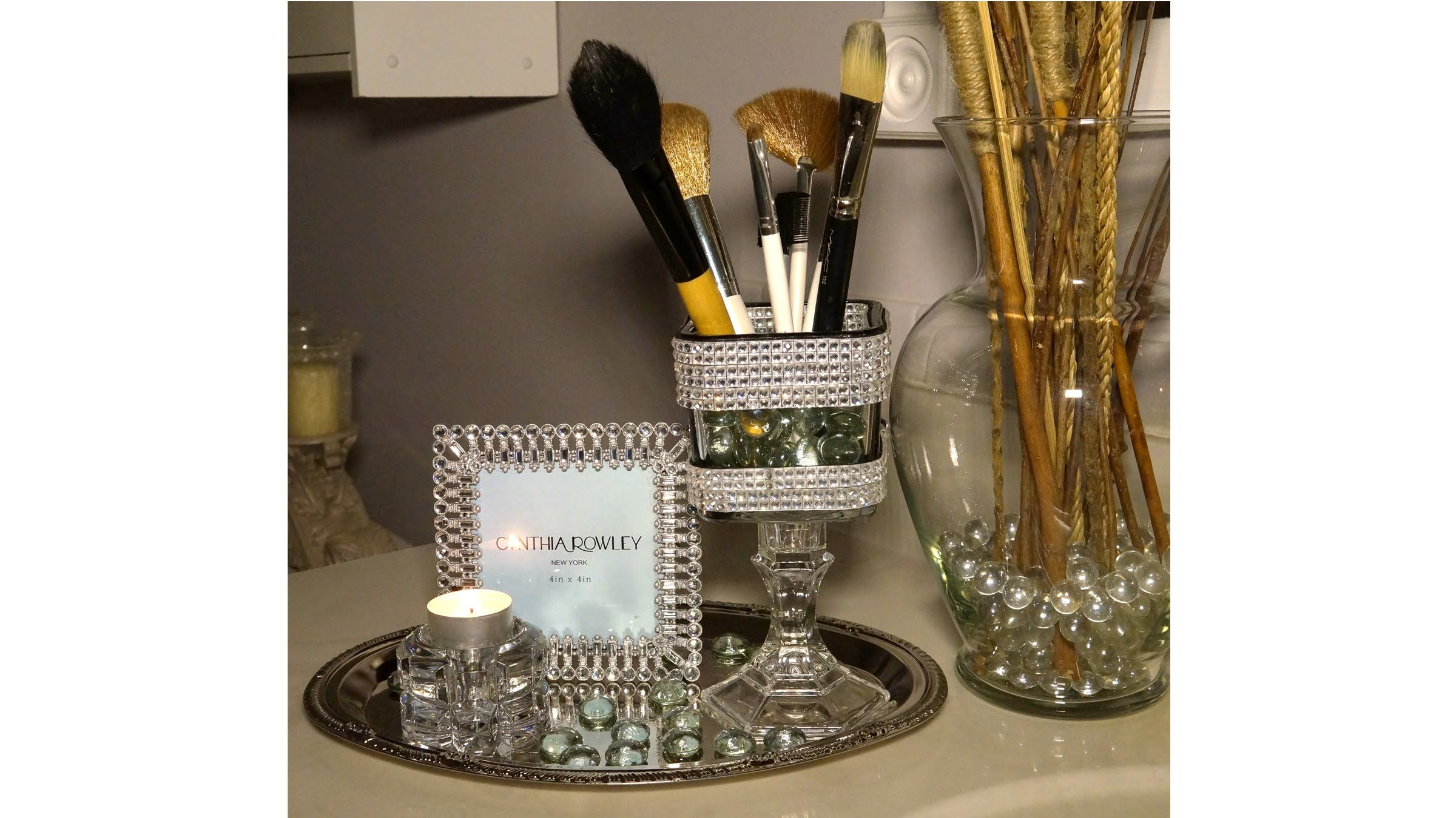 Blingy makeup brush holder dollar tree diy challenge with