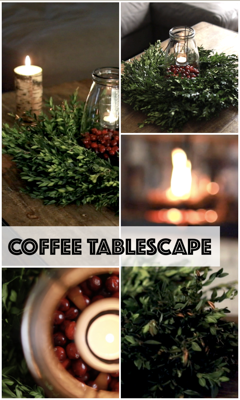Simple and elegant holiday and winter decor for your coffeetable on