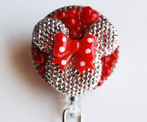 Minnie Mouse Light Silver Shimmery Silhouette ID Badge Reel - RN ID Badge Holder - Zipperedheart - Recycle on Etsy, $13.00