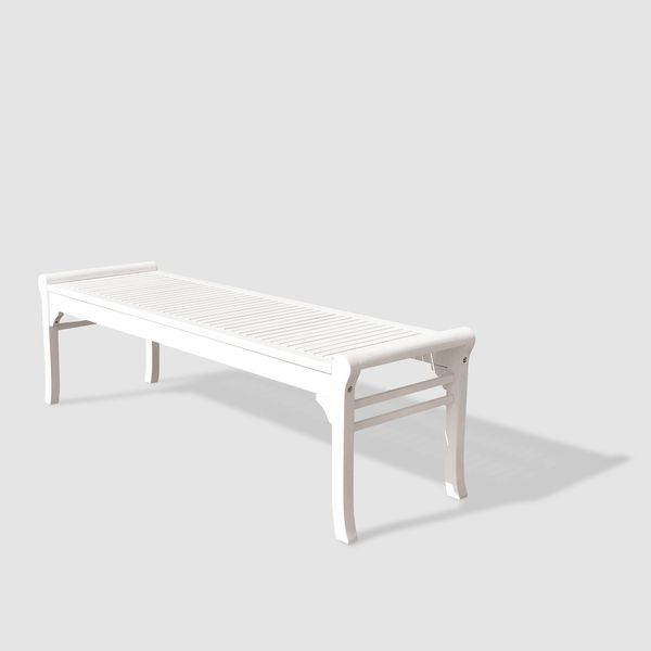 Bradley Eco Friendly 5 Foot Backless Outdoor White Wood Garden Bench