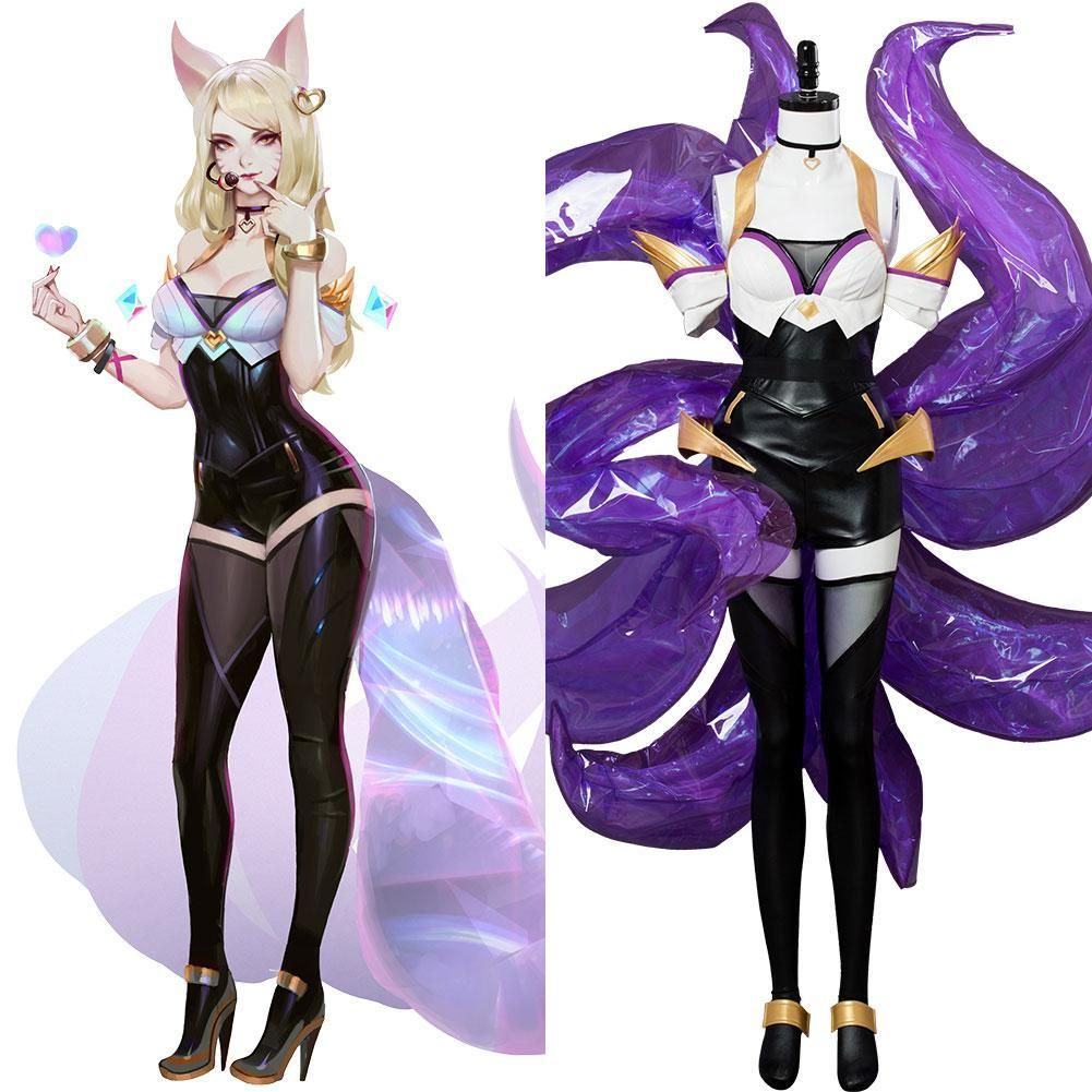 New League of Legends LOL Dress Ahri the Nine-Tailed Fox cosplay Costume /& Tails