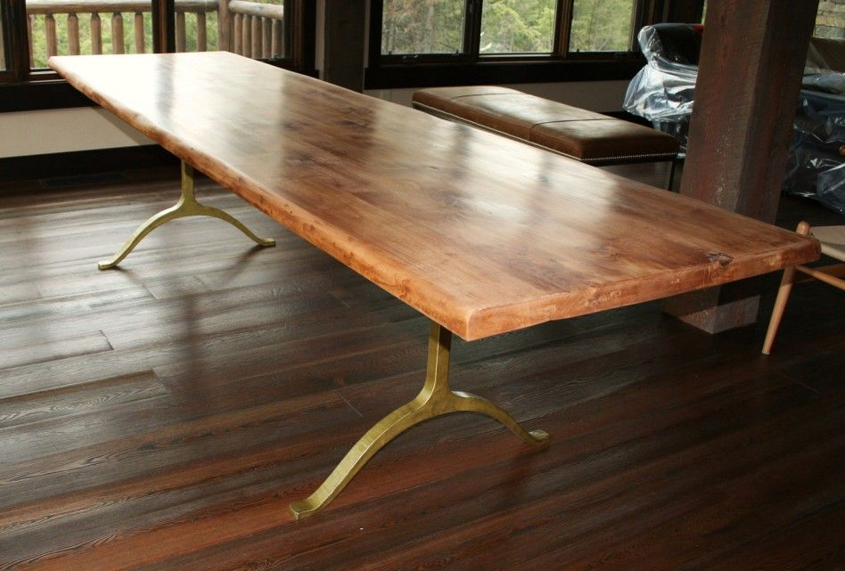Solid Wood Dining Table And Gold Metal Brass Legs
