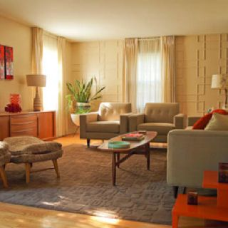 Mid century living room -- colors only. Like mid-century clean leans...maybe not this 60s