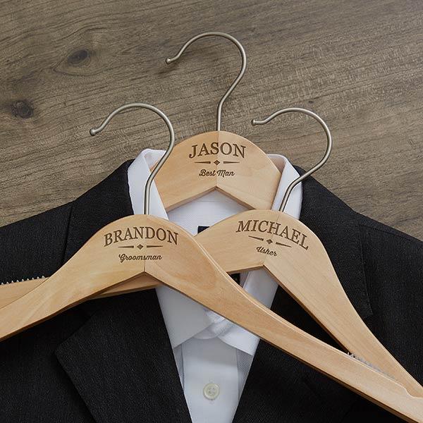 Classic Groomsman Engraved Wood Hanger Wedding Hangers Wedding Dress Hanger Personalized Groomsmen