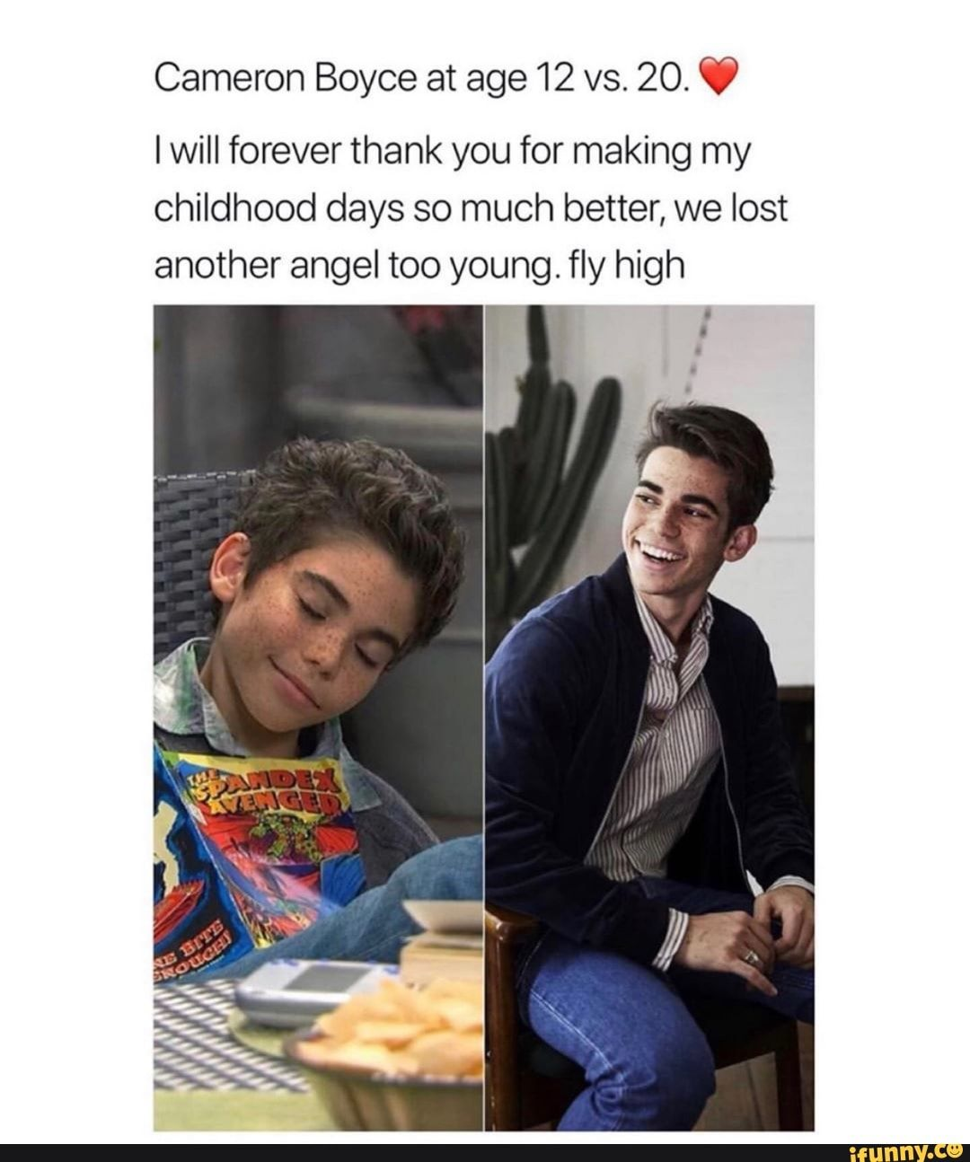 Cameron Boyce at age 12 vs. 20. W I will forever thank you